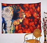 Wandteppich Afrika Elefant, Wandtuch Sonnenuntergang Tiere Afrika Rot mit psychedelic Hippie Stil, Alumuk mehrfarbige Tapisserie Wandbehang aus Baumwolle (203 x 153 cm, rot Blume Elefant)