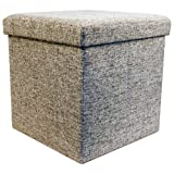 Echtwerk EW-SW-0460 Sitzwürfel, StoreCube, faltbar, circa 38 x 38 x 38 cm Kunstleder, Strukturstoff, grau