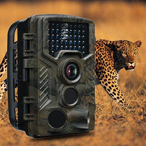 FaulKatze Wildkamera 16MP 1080P Full HD Jagdkamera 120° Breite Vision 46 IR LEDs 25m Erfassungsbereich 20m Nachtsicht IP56 Wasserdichte Überwachungskamera Nachtsichtkamera
