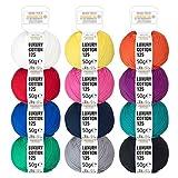 100% Baumwolle mercerisiert Bunter Mix - 600g Cotton (12 x 50g) - Oeko-Tex Standard 100 - glänzende Wolle zum Stricken & Häkeln - Baumwollgarn Set in 12 Farben by Hansa-Farm