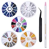 Hotop Strass di Unghia Arte Set con 5 Scatole Strass, Pick Up Matita e Tweezer