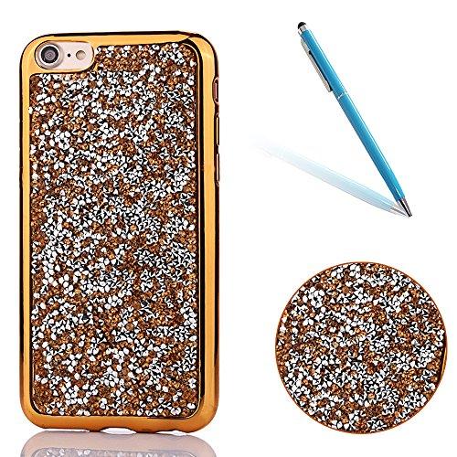 CLTPY iPhone 7 Hülle, iPhone 7 Ultradünne Glänzend Plating Handytasche mit Sparkly Bling Diamant, Weich Stoßdämpfend Silikon Fall für iPhone 7 + 1 x Stift - Gold-Schwarz - Eintracht-handy-fall