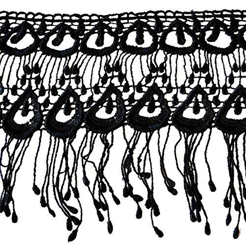 Altotux 6.5 White & Black Venice Lace with Long Fringe By Yard (Black) by Altotux White Lace Fringe
