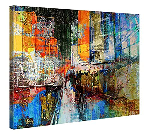 Canvas Print Wall Art – 7th Avenue – 100x75cm Stretched Canvas Framed On A Wooden Frame – Contemporary Art Canvas Printing – Hanging Wall Deco Picture By Gallery Of Innovative Art