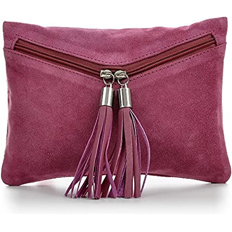 CNTMP - bolso para señora, clutches, clutch, bolsos de mano, bolsas de noche, bolsas de fiesta, bolsos de tendencia, gamuza, ante,flecos,bolso de cuero, 23 x 16, 5x1cm (l x an x