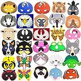 Blue Frog Toys Trend 30 x Kinder-Schaumstoff-Masken, Tierdesign, Tiere aus Regenwald, Meer, vom Bauernhof, Insekten & mehr