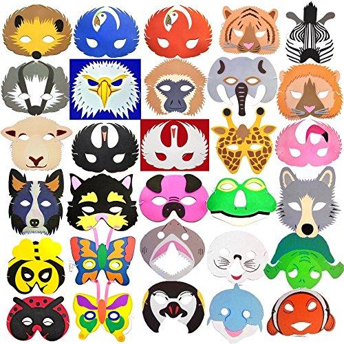 30 x Kinder-Schaumstoff-Masken, Tierdesign, Tiere aus Regenwald, Meer, vom Bauernhof, Insekten & mehr ()