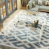 Koossy DIY Freigehege erweiterbarer Laufstall Welpenauslauf für Kleintiere Wie Hase, Kaninchen, Meerschweinchen, Katze und Welpe, Weiß (12 Platte)