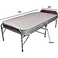 parkash steel Smart Folding with 5 inch Mattress and Castor Wheels (6x2.5 ft)