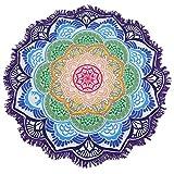 OUMIZHI® Mandala Round Lotus Beach Throw Tapisserie Decke Teppich Hippie Boho Zigeuner Tischdecke Strand Handtuch Runde Yoga Mat