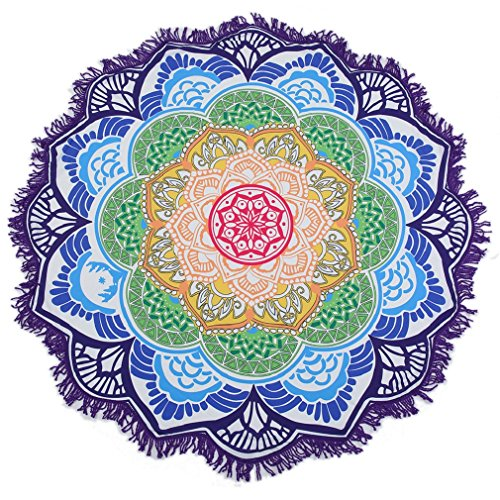 OUMIZHI® Mandala Round Lotus Beach Throw Tapisserie Decke Teppich Hippie Boho Zigeuner Tischdecke Strand Handtuch Runde Yoga Mat Teppiche Mat