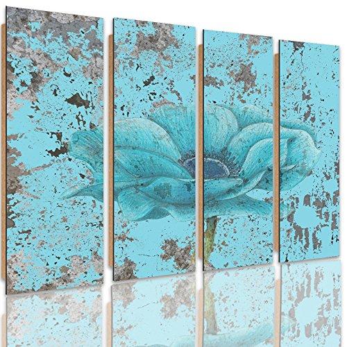 Feeby Frames, Cuadro de pared - 4 partes - Cuadro decorativo, Cuadro impreso, Cuadro Deco Panel, Tipo C, 120x80 cm, FLORES, NATURALEZA, AZUL, ARTE, COLOR, VINTAGE