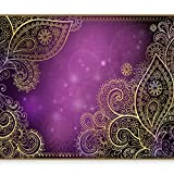 murando - Fototapete 350x256 cm - Vlies Tapete - Moderne Wanddeko - Design Tapete - Wandtapete - Wand Dekoration - Orient Ornament violett gold bokeh f-A-0146-a-c