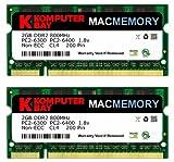 Komputerbay J18 Macmemory Apple Arbeitsspeicher 4GB Kit (2x 2GB Module, PC2-6300, 800MHz, 200-polig) DDR2-SODIMM für Apple iMac und Macbook Speicher
