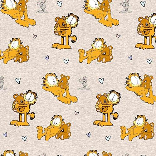 Garfield Katzen Beige Teddy Bär Orange Beige Sand Creme Meliert - Jersey Biostoff Biojersey - 145cm breit - 50cm je Einheit