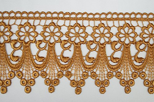 Altotux 3 Gold Embroidered Floral Scalloped Venice Lace Trim Victorian Guipure Sewing Supplies By Yard (UB004) by Altotux Scalloped Gold