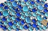 Bazare Masud e.K. 350g Glasnuggets Blaumix in 3 Versch. Größen 12-15mm, 17-21mm und 26-33 mm, ca. 81 Stück Dekosteine Glassteine, Muggelsteine - 2