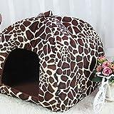 Demiawaking Weiche Haustier Schlafsack Hundehütte Katzenhöhle Hund Katze Haus (S, Leopard Farbe) - 6