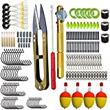 Dingbear 19 tipi di accessori per la pesca Set di attrezzi da pesca tra cui galleggianti per la pesca in acqua Vermi maschere Scatola di attrezzi e altri accessori per attrezzi da pesca - per acqua salata di acqua dolce
