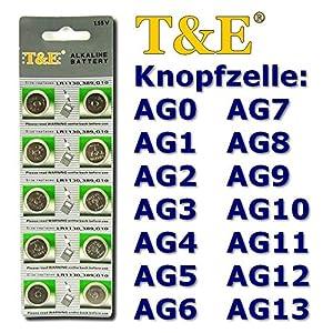 Starlet24 10 x T&E Knopfzellen AG0 AG1 AG2 AG3 AG4 AG5 AG6 AG7 AG8 AG9 AG10 AG11 AG12 AG13 625A Uhrenbatterien Uhren Batterie Alkaline