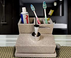 Sterling SMS-187 Natural Stone Finish Polyresign 4 Pieces Bathroom Set-Liquid Soap Dispenser, Toothbrush Holder, Tumbler & Soap Dish holder Beige Color
