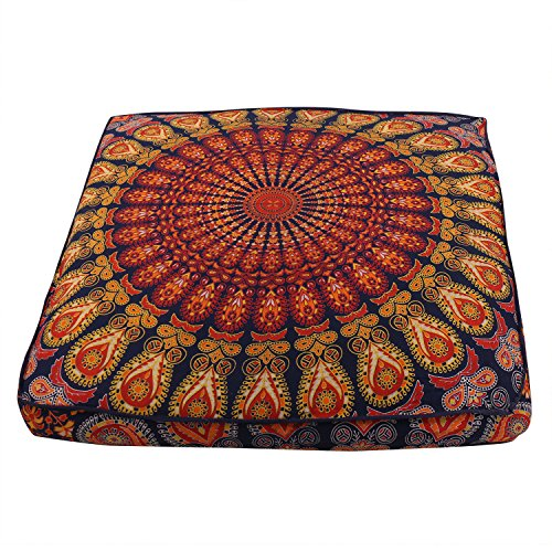 Indian Peacock Mandala Boden Kissen Kissenbezug Überwurf, Quadratisch Meditation Pouf Mandala Boden Kissen Kissen Platz Überwurf Bezug Bohemian Decor Boden Kissenbezug -