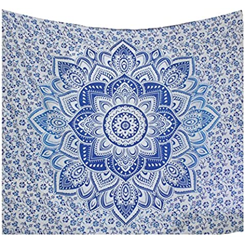 Kesrie Mandala large blue lotus print Wall hanging hippie boho