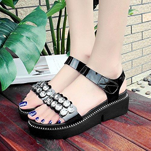 RUGAI-UE Fondo spesso sandali donna estate rugiada pendenza Toe Calzature Donna Black