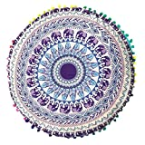 80 * 80cm Indische Mandala Böhmische Kissen Upxiang Fall Böhmen Kissenbezug Runde Kissen Kissenbezug Fall Boden / Sofe / Bett / Halle Kissenbezug (G)