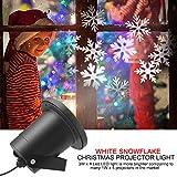 Weihnachts Projektor Licht, Dreamix Wasserdicht HD Muster-Nachtlicht 33FT 3W*4 LED Projektionslampe für Halloween, Weihnachten, Parteien, Hochzeit,Disco und Garten-Dekoration(Weiße Schneeflocke)