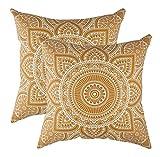 TreeWool - Pack de 2 - Mandala Acento Decorativo Fundas de cojín, 100% algodón (45 x 45 cm / 18 x 18 Pulgadas, Mostaza)