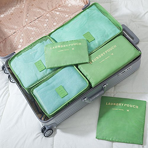 Kleidertaschen-Set 6-teilig Reisetasche in Koffer Wäschebeutel Schuhbeutel Kosmetik Aufbewahrungstasche Farbwahl Grün