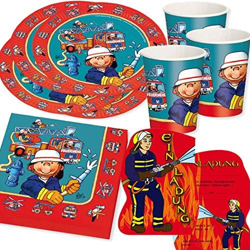 Kit d'anniversaire - 37 pièces - Motif : pompier - Composé de : assiettes en papier, serviettes, gobelets en papier et cartes d'invitation - Pour anniversaire d'enfant sur le thème pompier