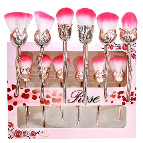 Rose Make Up Brushes Set Flower Make Up Brush Kit Foundation Face Powder Brush Premium Synthetic Kabuki Brush-6pcs