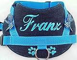 Hundegeschirr S M L Brustgeschirr mit Wunsch Namen bestickt Jeans Hellblau