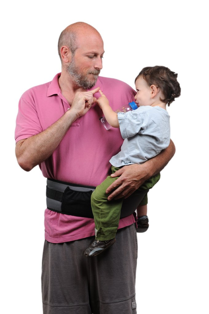 Pomfitis Carry G8766Baby Belly Waist Strapless Black Pomfitis LTD No more back pains from carrying your baby around! The Side Ride is a back supporting belt with an integrated child seat The Side Ride distributes your baby's weight evenly, reducing the strain on your spine, shoulder and arm 6