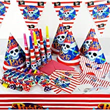 Fiesta de los niños del pirata Decoración de picnic Juego: Partyhütte + + party escapes cuernos invitaciones + + máscaras bandera y mantel durante 6 hijos