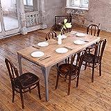 Contemporáneo Industrial Mesa De Comedor, Daniel (Dark Brown)-Silver (mild steel), 6 seater W150xD75xH75cm