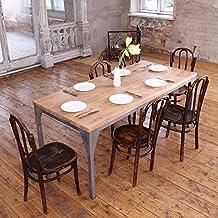 Mesa de comedor industrial, diseño contemporáneo, Daniel (Dark Brown)-Silver (mild steel), 6 seater W150xD75xH75cm