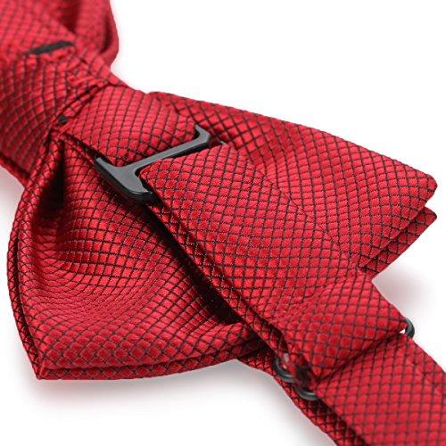 JewelryWe Nœud Papillon Cravate Homme Grille Accessoires Costume Cérémonie Mariage Fête Reglable Polyester Multicolore Rouge Fonce