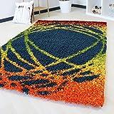 Shaggy Hochflor Teppich mit Multi Farben Muster in 5 verschiedenen Grössen bunt farbig für Wohnzimmer und Jugendzimmer mit Öko-Tex (80 x 150 cm)