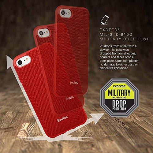 Evutec AP-007-MK-B02 Aergo Ballistic Nylon Ergonomische kratzfest leicht Schutzhülle für Apple iPhone 7, 11,9cm Afix Mount grau rot