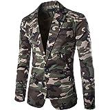 Men's Casual Camo Slim Fit Suit Jacket Coat Notched Lapel Blazer Tops