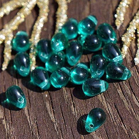 Vert émeraude en Verre tchèque en forme de Larme Perles Goutte de Petits Tissage 6mm x 4mm 50pcs