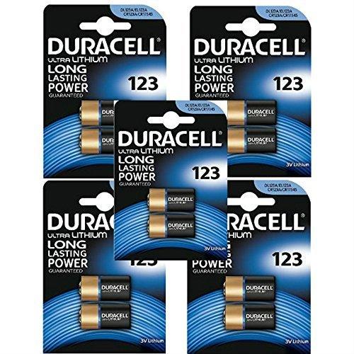 Duracell Pile ULTRA Lithium 3V, 123, 5 blisters de 2 pièces = 10 piles Duracell 123 Lithium-batterie