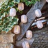 Guirnalda solar de farolillos de 10 LED blancos ovalados de Lights4fun