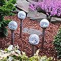 Solarlampen Kugel für aussen 4er Set mit Erdspieß Solarleuchten Garten Led Solar Aussenleuchten Wegeleuchte Edelstahl Glaskugel Gartenbeleuchtung