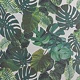 Dekostoff Gardinenstoff Leinenoptik Palmenblätter weiß
