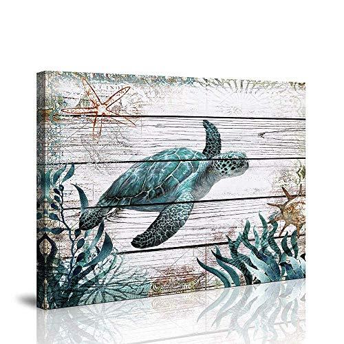youkiswall art Wanddekoration für Badezimmer, Motiv: Schildkröte mit grüner Schildkröte auf Leinwand, fertig zum Aufhängen