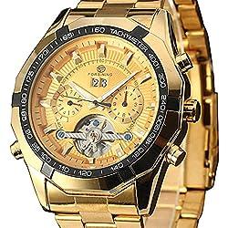 Automatic Skeleton Mechanical Calendar Men's Steel Strap Watches Analog-Digital